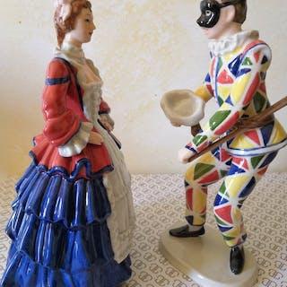 La commedia dell'arte Italiana - Royal Copenhagen - Figurine(s) (2) - Porcelain