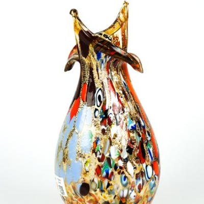 Imperio Rossi (Murano) - Amber cutting vase Fantasy murrina and mace - Glass