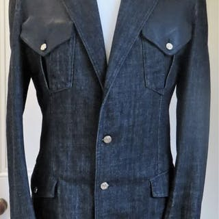 5fd4696f38f Versace - Leather and Denim Jacket with Gold Medusa Buttons