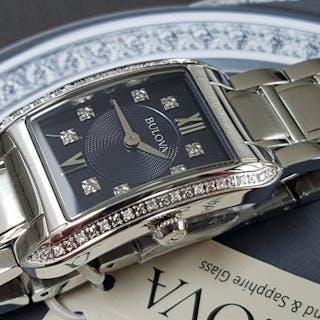 Bulova - luxury diamond lady watch stunning dark blue...