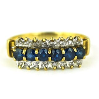 Antique- 14 kt. White gold, Yellow gold - Ring Sapphire - Diamonds