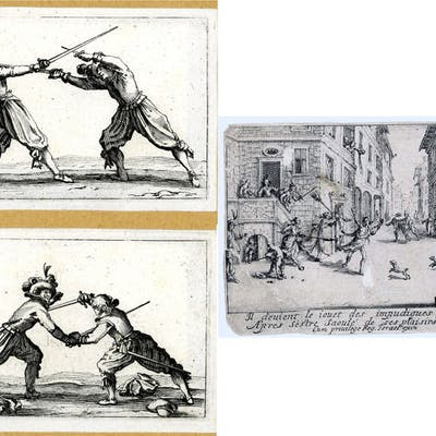 by or after Jacques Callot- 3 prints: The prodigal son & men dueling