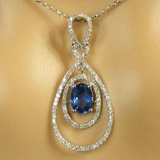18 kt. White gold - Necklace - 2.03 ct Sapphire VVS1...