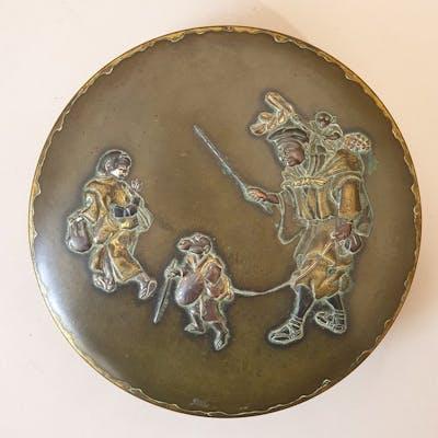 Scatola - Bronzo - Sarumawashi (Monkey trainer) - With...