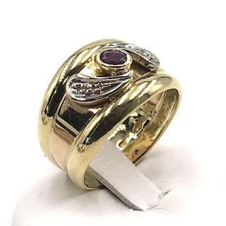 5bdce8018 18 kt. White gold, Yellow gold - Ring - 0.01 ct Diamond - Ruby