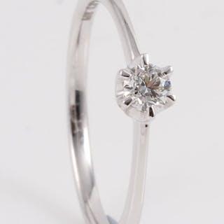 14 kt. White gold - Ring - 0.18 ct Diamond