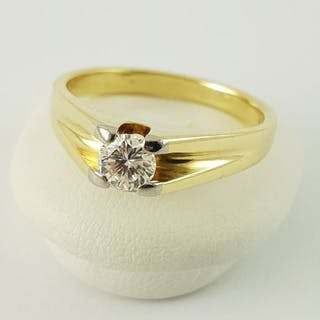 14 kt. Yellow gold - Solitaire Ring - 585 Gold - 1 Diamond