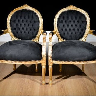 Armchair, Pair of armchairs (2) - Louis XVI Style