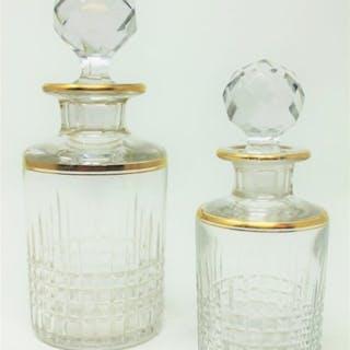 """Baccarat - Deux flacons de parfum en cristal - Modèle """"Nancy Decoree"""" - Cristal"""