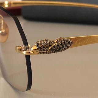 79a148b19759d Cartier - Panther Diamond Custom Sunglasses – Current sales – Barnebys.com