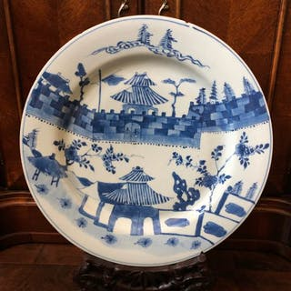 Charger (1) - Porcelain - Large charger 39.5cm Kangxi - China - 18th century