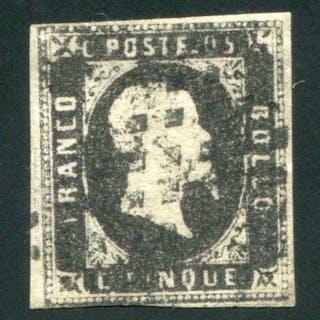 Sardegna 1851 - 5 cent. nero I emissione  - Sassone N. 1