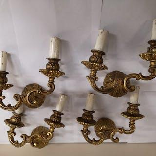 Applique, Quattro applique da parete in ottone a due luci