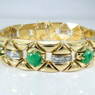 18 kt. Gold - 6.30 carat - Imperial diamond & jade bracelet
