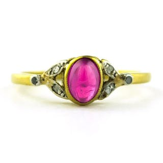 Authentic Antique - 18 kt. Yellow gold - Ring Ruby - Diamond