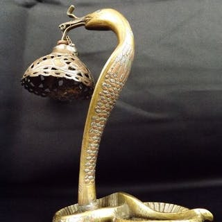 Cobra in solid bronze, silver and copper, Lamp