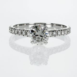 18 kt. White gold - Ring - 1.25 ct Diamond - D/SI1