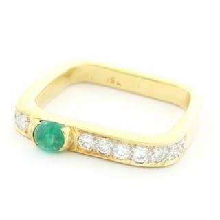 18 kt. Yellow gold - Ring - 0.33 ct Diamond - Emerald