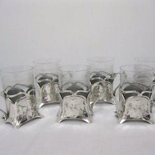 WMF - Six Art Nouveau tea glass holders with glass insert