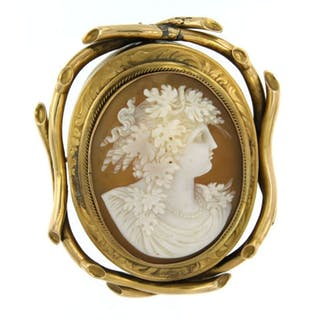 18 kt. Yellow gold - Brooch, with matching jewelry box cameo