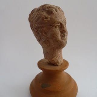 Ancient Roman Terracotta (a49) Roman female head on pedestal - 20×30×55 mm - (1)