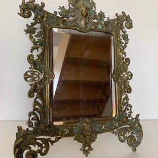 Miroir murale où poser - Style Louis XV - Bronze - Début du XXe siècle