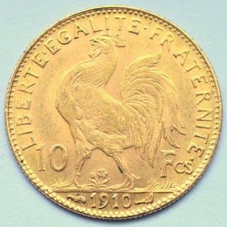 France - 10 Francs 1910 Marianne - Gold