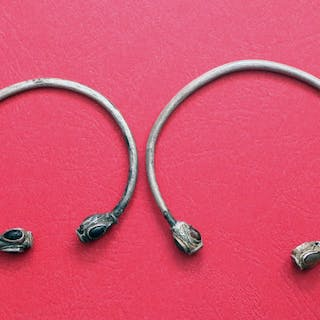 Early medieval Silver collection of two very rare bracelets