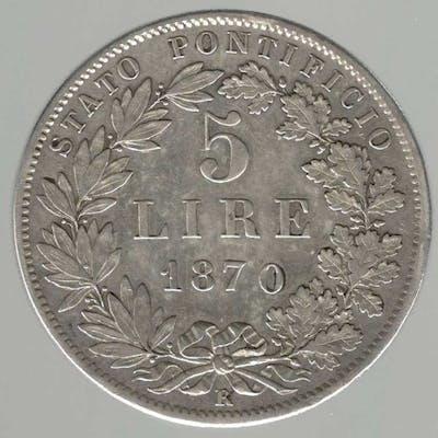 Stato Pontificio -  Pio IX   Lire 1846-1878 5 lire 1870...