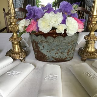FRENCH VICTORIAN DAMASK TABLE LINEN (13) - Linen - Early 20th century