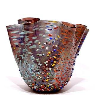 Zecchin - Handkerchief vase with murrine in relief - Glass