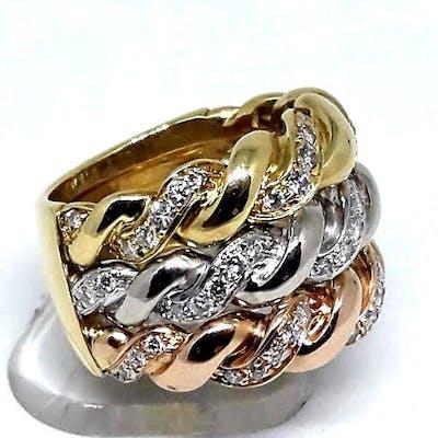 18 carati Oro bianco, Oro giallo, Oro rosa - Anello - 0.65 ct Diamante