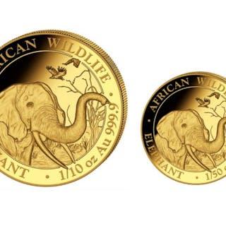 Somalia - 20 + 100Shillings 2018 'Somalia Elephant' 1/50 + 1/10 oz- Gold