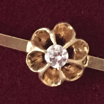 18 kt. Gold, Yellow gold - Brooch - 0.10 ct Diamond