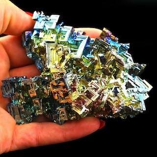 Huge! Rainbow Bismuth Tower Crystal cluster - 9.5×6.5×2.5 cm - 270 g