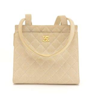 cd26d5240209 Chanel - Chanel Beige Quilted Canvas Tote Shoulder Hand Bag Handbag