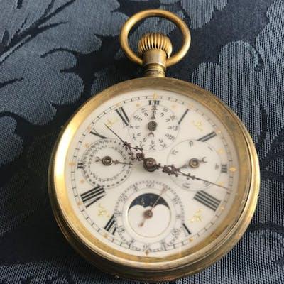 Calendario 1900.Triplo Calendario Fasi Lunari Orologio Da Tasca Men