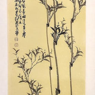 Ink painting - Chinese export - Rice paper - Chinese still life with bamboo no