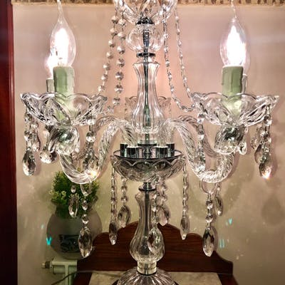 Flambo '3D crystal engraved with five lights, Table lamp