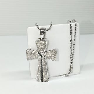 18 kt. White gold - Necklace with pendant 1.25 ct Diamond