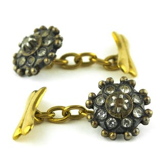 Authentic Antique - 18 kt. Silver, Yellow gold - Cufflinks White Sapphire