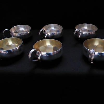 6 Stück Becher 830´er Silber- teilvergoldet - GAB - Schweden - 1959