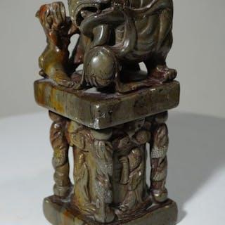 Antike China Tempel Wächter(1) - Marmor - Dasak Muka