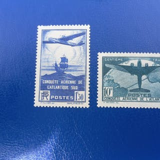 France 1938 - 2 timbres de la conquête aérienne de l'Atlantique sud - Yvert 320