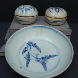 Schale, Deckeldosen (3) - Blau und weiß - Porzellan...