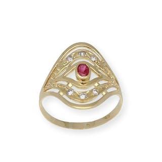 18 kt. Gold - Ring - 0.40 ct Ruby - Diamond