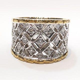 18 kt. White gold, Yellow gold - Ring - 1.24 ct Diamond - Diamonds