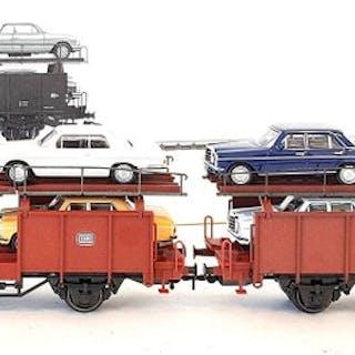 Märklin H0 - 46134 - Güterwagen - Autotransporter mit acht Mercedes PKW - DB