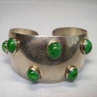 signiert ST, Dänemark - 925 Silber - Armband - 21.00 ct Jade /Nephrit