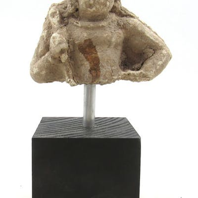 Gandhara Stucco Bust of a Warrior Mounted on Stand